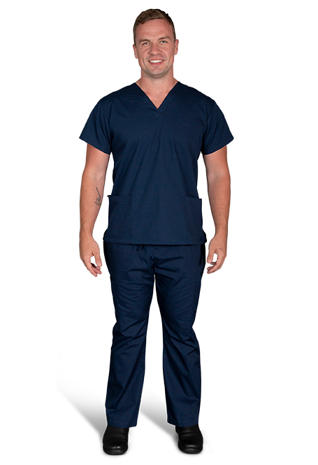Male nurse wearing navy blue shirt and pants