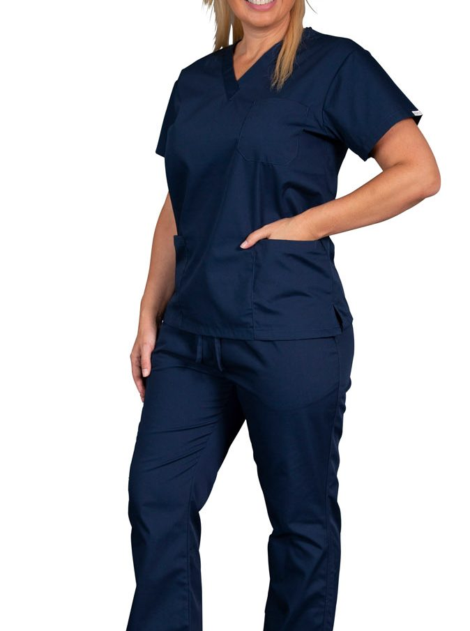 Female nurse wearing navy blue shirt and pants