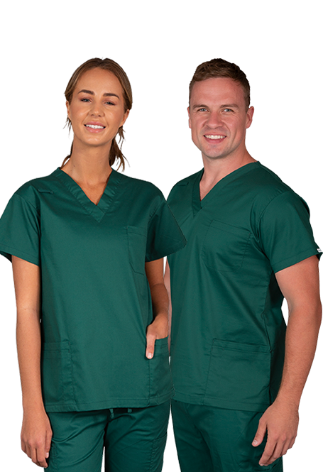Male and female wearing Elitcare classic olive green shirt and pants uniform