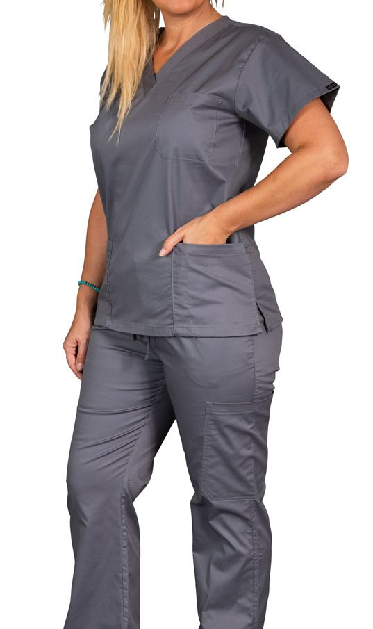 Elitecare Classic gray shirt and pants nurse uniform